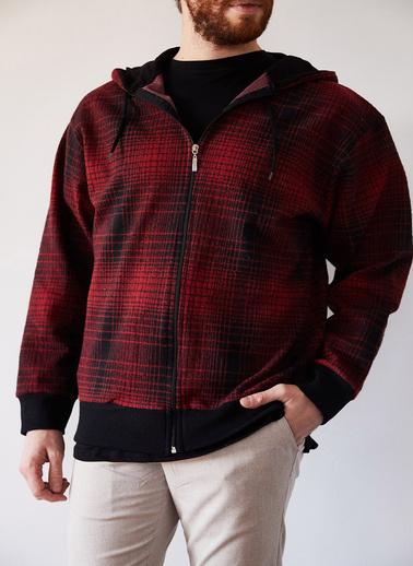 XHAN Hardal & Siyah Yün Ekoseli Fermuarlı Kepüşonlu Ceket 1Kxe8-44247-37 Bordo